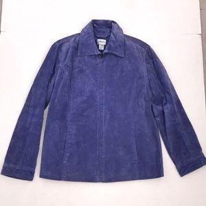 Chico's Blue Suede Leather Coat